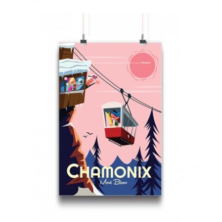 affiche Chamonix Mont-Blanc téléphérique aiguille du midi