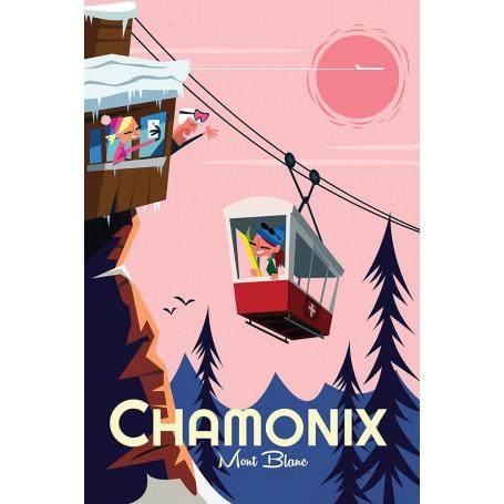 affiche Chamonix Mont-Blanc téléphérique brevent