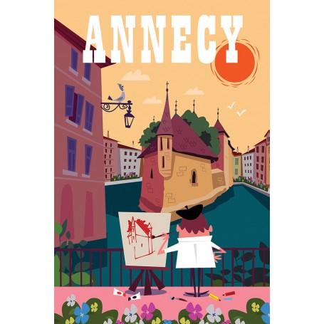 Affiche Annecy palais de l'île avec peintre