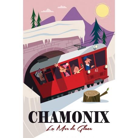 Affiche train mer de glace Chamonix