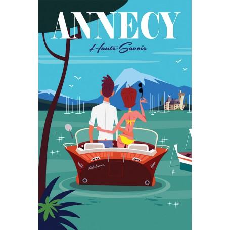 Poster Balade en bateau sur le lac d'Annecy